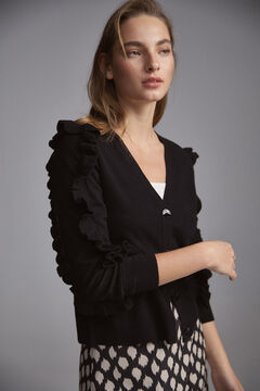 Pedro del Hierro Flounced sleeves jacket Black