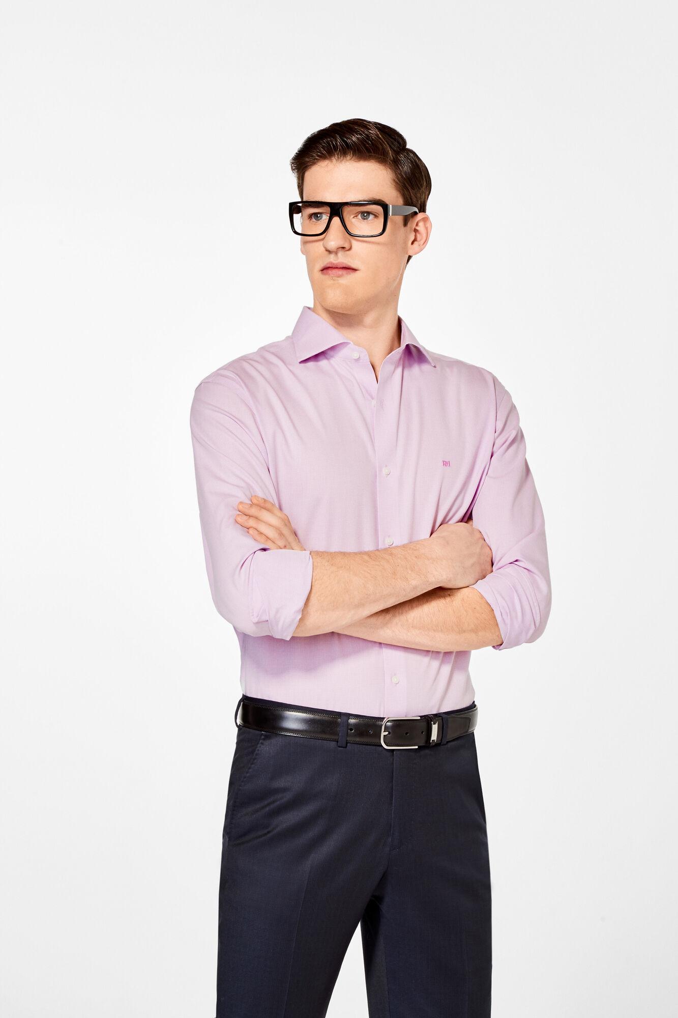Pedro del Hierro False plain classic dress shirt Pink 673753273cb