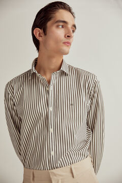 Pedro del Hierro Striped cotton poplin shirt Green