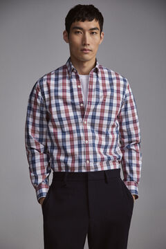 Pedro del Hierro Checked TX Protect slim fit shirt Red