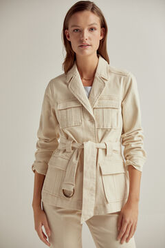 Pedro del Hierro Safari blazer in natural colour denim Ecru