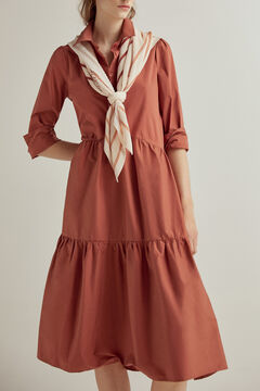 Pedro del Hierro Midi dress in poplin Brown