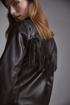 Pedro del Hierro Leather jacket Black