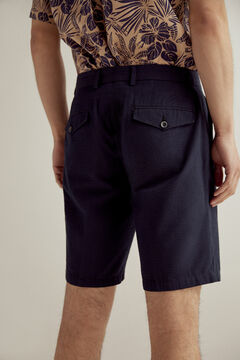 Pedro del Hierro Seersucker textured Bermuda shorts Blue