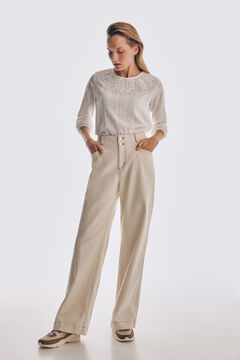Pedro del Hierro Lace top with three-quarter length sleeves Beige