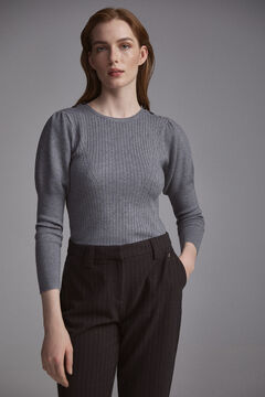 Pedro del Hierro Ribbed puffed-sleeve jumper Grey