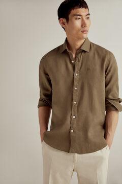 Pedro del Hierro 100% linen plain shirt Green