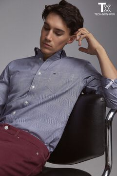 Pedro del Hierro Tech Non-Iron cotton shirt Blue