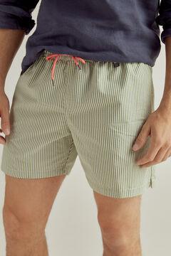 Pedro del Hierro Calções de banho de tecido seersucker bolsa da marca Verde