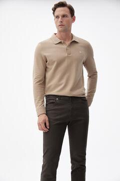 Pedro del Hierro Slim fit coloured micro print 5-pocket trousers Brown