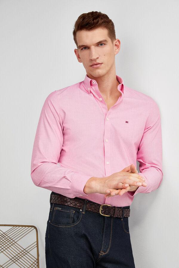 b045310339c Pedro del Hierro Camisa non-iron lisa cuello botón Rojo