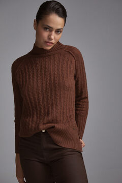 Pedro del Hierro Cable knit mock turtleneck jumper Brown