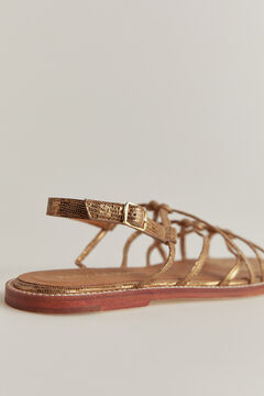 Pedro del Hierro Embossed leather sandal Yellow