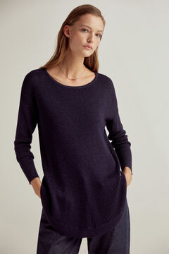 Pedro del Hierro Ribbed lurex boat neck jumper with rounded hem Blue