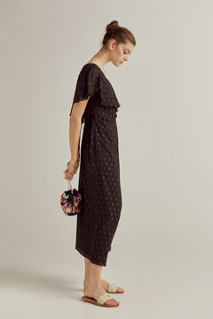Pedro del Hierro Asymmetric dress set with leather sandals and embroidered bag