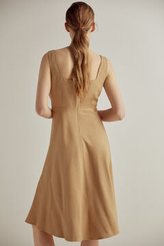 Pedro del Hierro Embroidered linen dress Brown