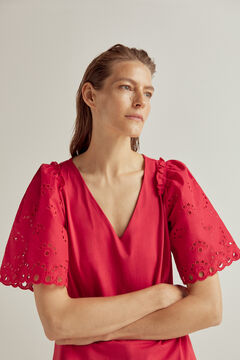 Pedro del Hierro Poplin V-neck top with embroidered sleeves Red
