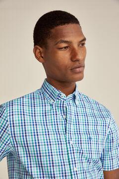 Pedro del Hierro Checked short-sleeved Tech Non Iron shirt Burgundy