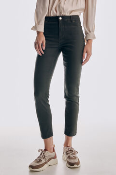 Pedro del Hierro Skinny fit rubber-effect jeans Green