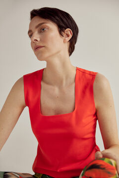 Pedro del Hierro Basic sleeveless slim-fit T-shirt with square neckline Red