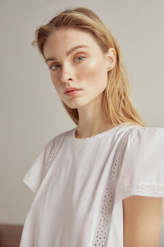 Pedro del Hierro Embroidered vest top with flounced sleeves White