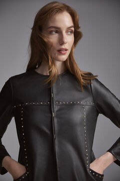 Pedro del Hierro Studded nappa leather over garment Black
