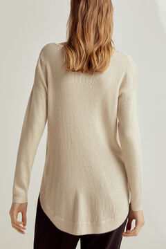 Pedro del Hierro Ribbed lurex boat neck jumper with rounded hem Yellow