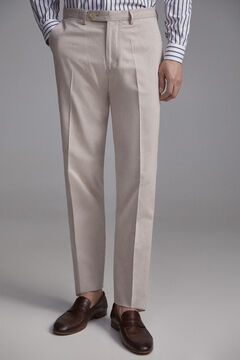 Pedro del Hierro Micro pattern regular fit linen trousers Beige