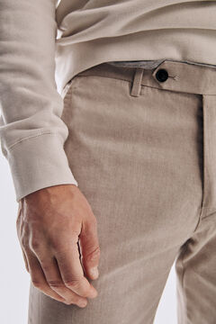 Pedro del Hierro Micro pattern regular fit trousers Beige