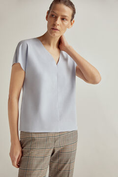 Pedro del Hierro Loose V-neck T-shirt with short dropped sleeves Blue