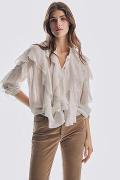 Pedro del Hierro Viscose flounced blouse Beige