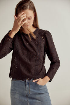 Pedro del Hierro Embroidered fabric blouse Black