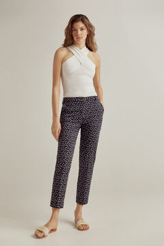 Pedro del Hierro Slim fit printed Tencel® trousers Blue