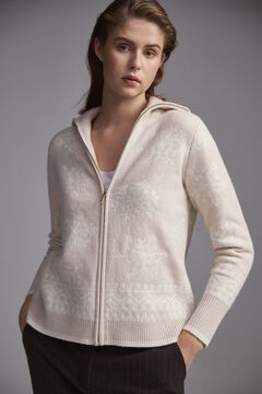Pedro del Hierro Christmas jacquard knit coat Ecru