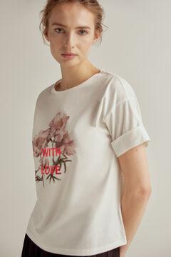 Pedro del Hierro Short-sleeved organic cotton T-shirt Ivory