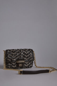 Pedro del Hierro Tweed crossbody bag Black