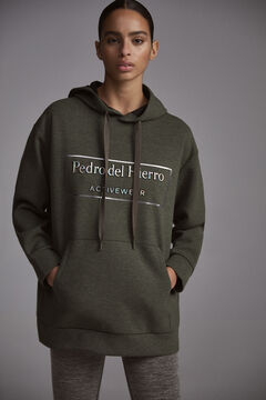 Pedro del Hierro Melange technical fabric sweatshirt with iridescent logo Green