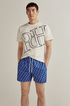 Pedro del Hierro Printed swimming shorts with brand logo and bag Blue