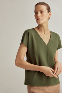 Pedro del Hierro Loose V-neck T-shirt with short dropped sleeves Green