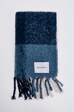 Pedro del Hierro Checked scarf Blue