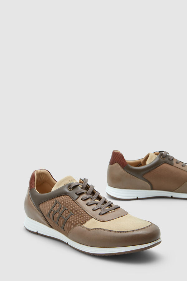 9fe3065db97 Pedro del Hierro Leather and nylon icon sneakers Brown