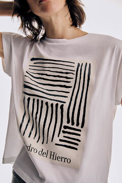 Pedro del Hierro Camiseta amplia manga corta cuello caja Beige