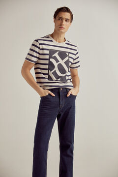 Pedro del Hierro Washed Classic Denim Pants Blue