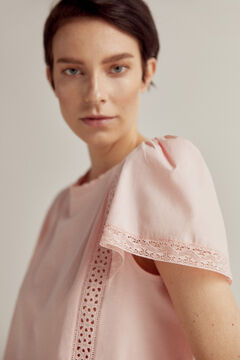 Pedro del Hierro Embroidered vest top with flounced sleeves Pink