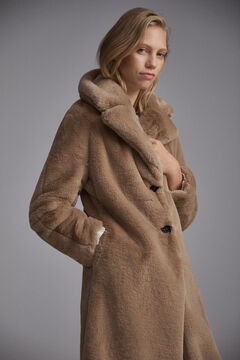 Pedro del Hierro Long sheepskin coat Brown