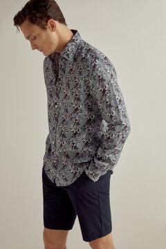 Pedro del Hierro Printed linen shirt Blue