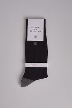 Pedro del Hierro Plain ribbed wool socks Blue