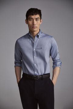 Pedro del Hierro Plain slim fit TX Protect shirt Blue