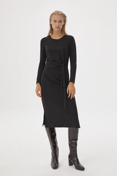 Pedro del Hierro Long-sleeved jersey-knit dress with knot Black