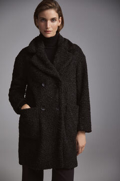 Pedro del Hierro Double-breasted sheepskin coat Black